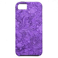 Elegant Purple Leather Look Floral Embossed Design iPhone 5 Covers.  $49.95