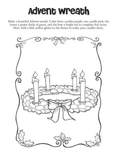 Make A Beautiful Advent Wreath Color Three Candles Purple One Candle Pink The More Information