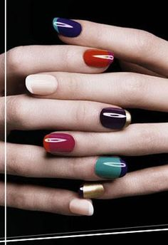 colorblock manicure  why not?  )YSL Mani)