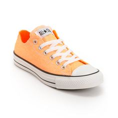 I want converse but idk what colour The+original+sneaker+now+in+a+Washed+Neon+Orange+colorway+the+Converse+Chuck+Taylor+All+Star+low+top+shoe+gives+Crayola+a+run+for+its+money.