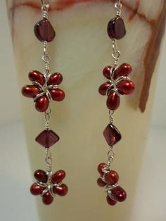 Freshwater Pearl Flower Earrings with Garnet and Sterling Silver by hellowordone