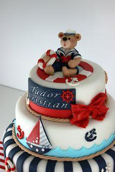 Viorica's Cakes: Christening Cake navy, Cristian Tudor by toni Cupcakes, Cupcake Cakes, Sailor Cake, Nautical Cake, Sea Cakes, Baby Boy Cakes, Fancy Cakes, Love Cake, Pretty Cakes