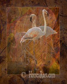 Flamingo Dance shows three flamingos against a Hawaiian bush with colorful leaves Digital art by Melinda Hughes-Berland © Canvas Art, Canvas Prints, Art Prints, Flamingo Art, Thing 1, Pink Bird, Animal Photography, Fine Art America, Saatchi Art