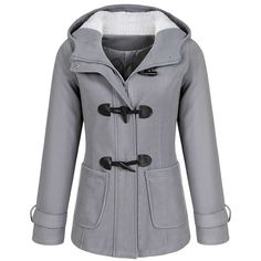 Ladies Women Winter Casual Hooded Horn Button Zip Wool Blend Coat... found on Polyvore featuring outerwear, coats, jackets, button coat, hooded coat, zip coat, zipper coat and wool blend coat