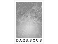 Damascus Street Map Damascus Syria Modern Art Print