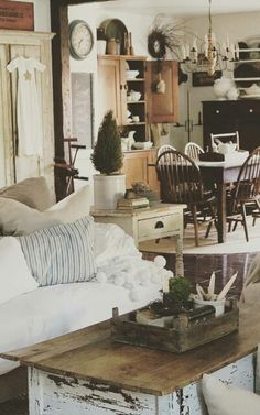 Farmhouse Living and Dining Room - At Home on SweetCreek