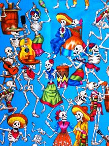 Day of the Dead Skeleton and Skull Fabric - Cloth  Alexander Henry   Mexican calendar girls