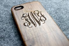 WALNUT monogram iphone 5 case wood iphone 5 case by WoodBliss, $25.00