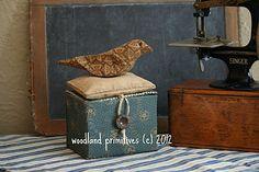 primitive brown bird pinkeep make-do sewing box ~ Copyrighted Woodland Primitives