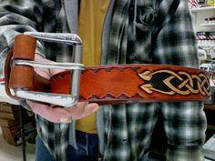 Leather Belt / Celtic Belt / Hand Carved and Tooled / Women or men / Tribal / Leather Belt