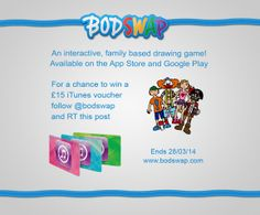 Follow us on Twitter: twitter.com/bodswap & RT our latest competition tweet for a chance to win a £15 iTunes voucher! #competition #win #prizedraw #app #kids #parenting  Play Bodswap for free: http://bit.ly/1ekl9wR