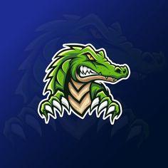 Green Alligator Crocodile Mascot For Esport Gaming Logo Logo E Sports, Logo Animal, Gaming Logo, Crocodile Logo, Game Logo Design, Esports Logo, New Orleans Saints Logo, Dog Logo, Logo Restaurant