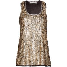 Rental Trina Turk Arlo Top (666.500 IDR) ❤ liked on Polyvore featuring tops, dresses, gold, trina turk tops, sequin top, trina turk, racer back tops and mesh top
