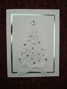Christmas card, white embossed snowmen with 'Let it Snow' sentiment band. | Winter Embossing Cards | Pinterest | Snowman, Snow and Christmas Cards