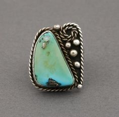 Navajo Ring with Morenci Turquoise. Can't get enough of original rings :)
