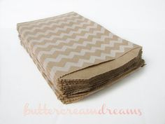Kraft & White CHEVRON Paper Favor Bags  20 by ButtercreamDreamShop, $5.75