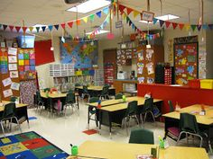 Triangle flags - Pencils, Paper and Pixie Dust: Finally. Circus Theme Classroom, Classroom Setting, Classroom Door, Classroom Setup, Classroom Design, Classroom Displays, Future Classroom, Classroom Ceiling Decorations, Classroom Arrangement
