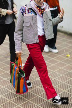 Streetstyle of Yu Masui wearing a Balenciaga bag during Tokyo Fashion Week Spring Summer 2017