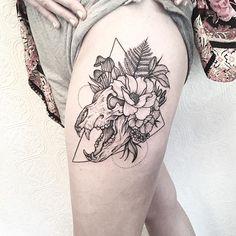 Bear skull and Flora - thanks Aileen #tattoo #blacktattoo #illustration…