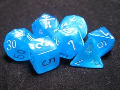 FRP GAMES - PRODUCT - Chessex RPG Dice Sets: Bright Blue/Silver Velvet Polyhedral 7-Die Set