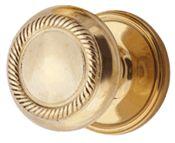 Solid Brass Art Deco Fanfare Door Knob Set (Polished Brass Finish)