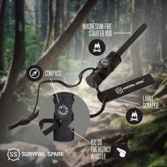 "#1 BEST Fire Starter - SurvivalSPARK Emergency Magnesium Fire Starter - Survival Fire Starter with Compass and Whistle - CUSTOMERS SAY: Must have emergency tool for campers & hikers! | 3 essentials in one purchase!. COMPACT & CONVENIENT: Fire starter rod is 5.5"" to easily fit in cars, survival kits & camping gear. ALL IN ONE EMERGENCY TOOLS: Magnesium fire starter stick, large scraper, compass, whistle & lanyard. LIGHTS UP TIME & TIME AGAIN: Strikes up to 15,000 times to make a fire when…"