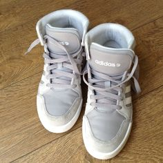 0ef0e50cd8d0a Adidas Neo high top NEO Adidas grey  white high top👆👆👆👆👌🌟kids size    woman size 7 or Adidas Shoes Sneakers