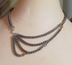 Unbalanced Balance Chain Maille Necklace - JEWELRY AND TRINKETS