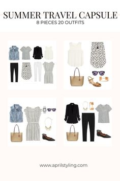These 8 pieces can mix and match to create the perfect travel capsule. See the outfits I wore out of my suitcase for a weekend getaway. Office Outfits, Casual Outfits, Summer Outfits, Work Outfits, Weekend Getaway Outfits, One Suitcase, Travel Capsule, Casual Chic Style, Summer Travel