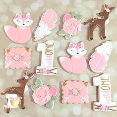 Iced Cookies, Cut Out Cookies, Royal Icing Cookies, Sugar Cookies, Baby Girl Birthday, 10th Birthday, Nature Cake, Single Cookie, Cooking Cookies
