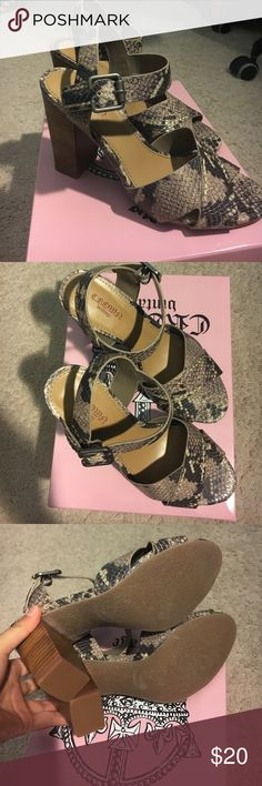 BNWT Snake Print Wooden Heel Sandals Super cute for the summer! BNWT in original box. Size 6 snake print wooden heels from crown vintage. Listed as steve madden for exposure Steve Madden Shoes Heels