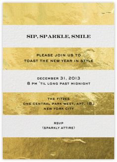 White and gold foil striped wedding invitation idea. Excellent for a new year's wedding reception!
