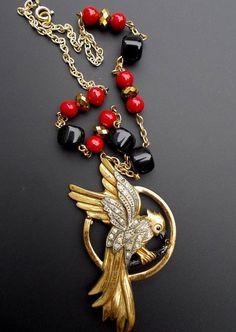 Parrot Necklace Vintage Rhinestone Bird Black Red by LilisGems