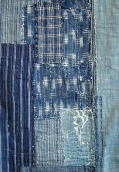 Vintage Japanese Boro. Material, particularly cotton, was costly for the poor, who meticulously patched their clothing and in doing so created artistic masterpieces.