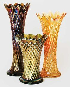 Diamond Point Carnival Glass vases by Northwood