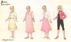 This costume sketch for an old production of Grease comes startingly close to Rosina's 4 looks, though in the wrong order.