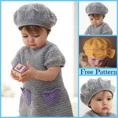 Crochet Dresses DIY Crochet Beehive Baby Sport Dress and Hat Set Free Pattern - Crochet Angel Wing Baby Dress Free Pattern Crochet Dress Girl, Crochet Bodycon Dresses, Crochet Beret, Black Crochet Dress, Baby Girl Crochet, Diy Crochet, Crochet Clothes, Baby Patterns, Crochet Patterns