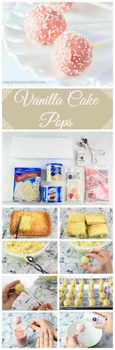 Receta de cakepops de vainilla para que los hagas con tu familia o amigos(as). Ingredientes con sus porciones abajo de la imagen.