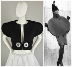 Vintage PIERRE CARDIN Bubble Iconic Collection Crop Wool Futuristic Bolero Jacket