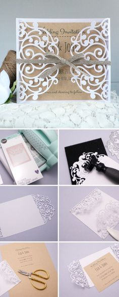 In this step-by-step #Sizzix tutorial, we'll show you how to make your own handmade wedding invite in lace design. #wedding #weddinginvite #weddings #DIYwedding #papercrafts #crafts #weddingcrafts #DIYproject