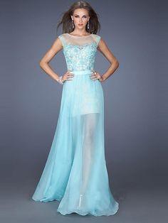 $133 A-Line/Princess Scoop Sleeveless Applique Chiffon Floor-Length Dresses