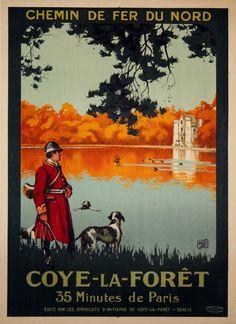 Vintage Railway Travel Poster - Coye La Forê - by Charles Hallo - 1926.