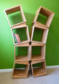 Wedge Bookcase By Kimmodesign On Etsy
