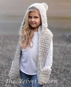 Crochet PATTERN-The Summit Hooded Scarf (12/18 month,Toddler, Child, Teen, Adult…