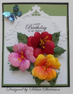 Hibiscus Tutorial by Selma - Cards and Paper Crafts at Splitcoaststampers