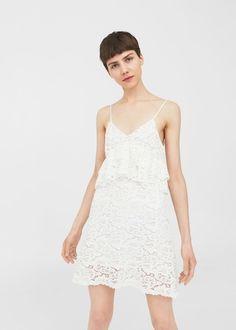 Vestido guipura algodão | MANGO