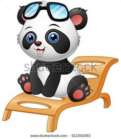 Vector illustration of Cartoon panda bear sitting on deck chair isolated on white background Cartoon Drawings, Easy Drawings, Urso Bear, Cute Panda Wallpaper, Panda Drawing, Panda Wallpapers, Cartoon Panda, Free Vector Illustration, Dog Vector