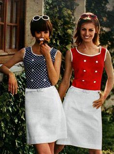 Jours de France June 1966, red-white-blue summer fashion