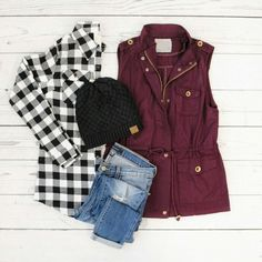 MSJ, black checked shirt, burgundy vest, black ankle boots