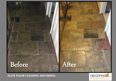 Slate floor deep cleaning and restoration Floors Showers